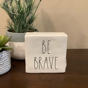 Rae Dunn Accents - Rae Dunn Ceramic 2-Sided Sign BE BRAVE / WORK HARD